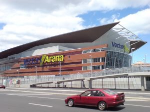 Vector Arena Auckland was powder coated on external louvres and internal roof