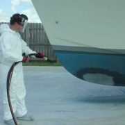 Removing antifouling paint with soda blasting