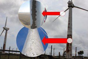 Erosion on wind turbine without wind turbine coating