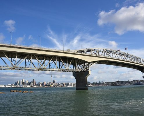The Auckland Harbour Bridge is protected by metal coating.