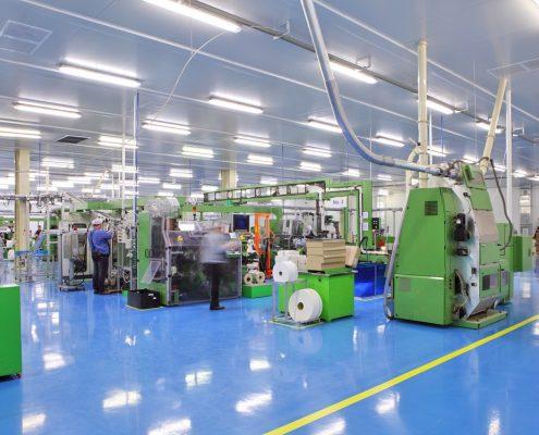 Chemical resistant coatings on floor of factory