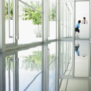 Self leveling epoxy coating applied on a floor makes it easy to clean, attractive, and protected.